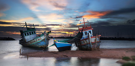 Thailand Fishing Boats in a sunset